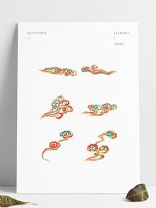 国潮传统中式敦煌色祥云套图六个