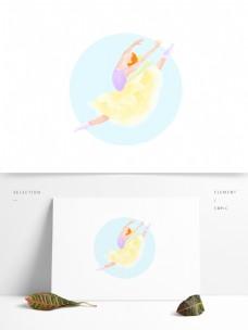 梦幻的芭蕾舞者插画元素