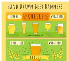 手繪小麥啤酒橫幅