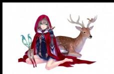 麋鹿掛畫 女孩