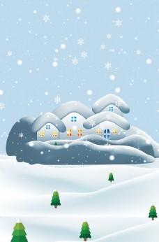 冬季雪花卡通宣傳海報