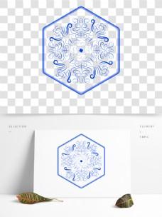 传统中式青花瓷装饰图案花朵藤蔓矢量AI