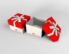 原创3d建模红色蝴蝶结礼盒样机