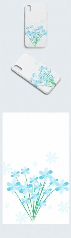 卡通蓝色简洁花朵背景手机壳