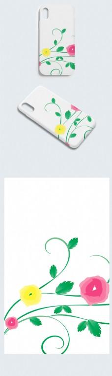 清新绿色藤曼背景手机壳