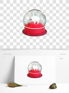 C4D水晶球里的兔子3D模型