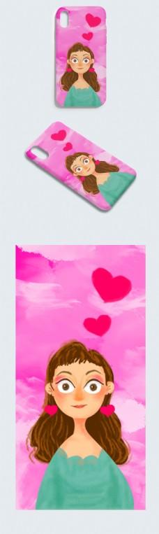 原创手绘爱心女孩手机壳