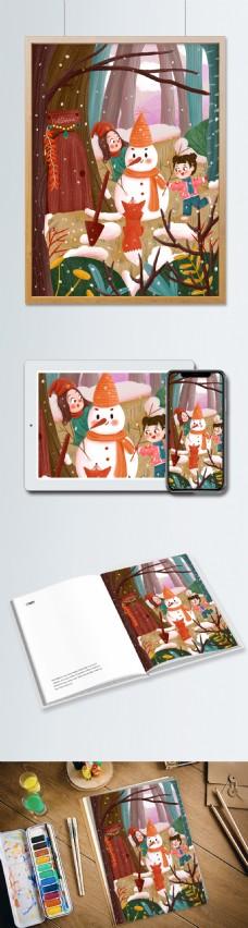 卡通可爱立冬2儿童插画设计