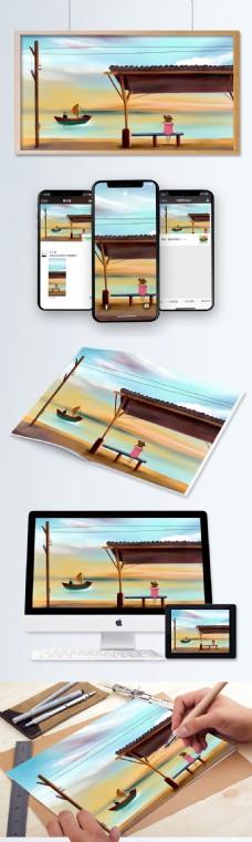 手绘插画风景美丽湖水