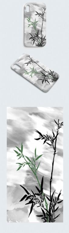 原创手绘竹子手机壳