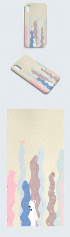 创意手绘卡通可爱白熊手机壳