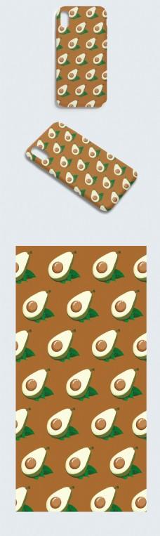 原创牛油果平铺手机壳设计