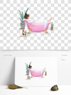沐浴洗泡泡浴的女生小清新插画