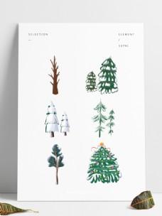 下雪雪景松树雪树插画雪景树可商用植物