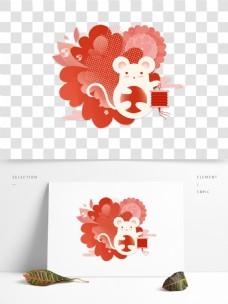 鼠年新年红色喜庆扁平图案