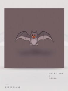 万圣节蝙蝠元素纯色背景