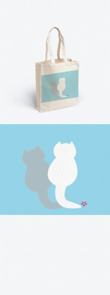 原创手绘猫背影蓝色手提袋帆布袋