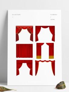 幕布素材红色舞台布景