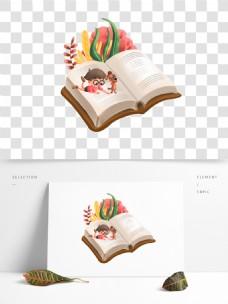 可商用国际儿童日卡通孩子与小狗正在阅读书