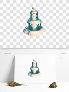 C4D大理石材质喷泉3D模型
