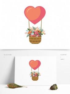 心形气球鲜花花篮