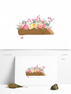 花艺作品木桩插花