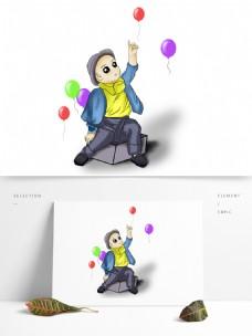 卡通男孩与飞走的气球