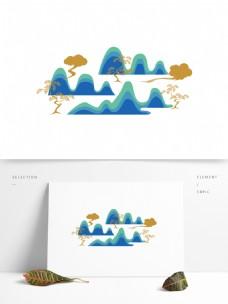 矢量松树群山插图元素