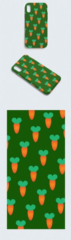 原创绿色胡萝卜手机壳