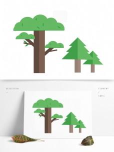 扁平化大树矢量卡通元素