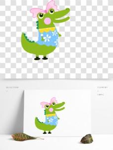 鳄鱼卡通可爱元素