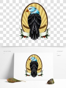 纹身风格老鹰背影标志图案