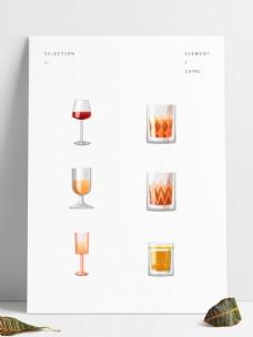 手绘简洁玻璃酒杯红酒香槟