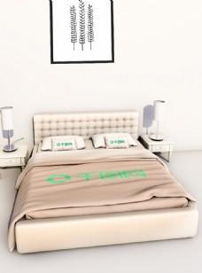 原创C4D整套床上用品被子头枕枕头样机