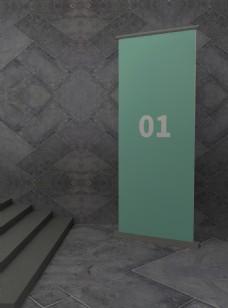 原创模型易拉宝样机展架室内