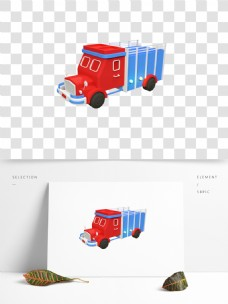 C4D卡通红蓝小卡车3D模型