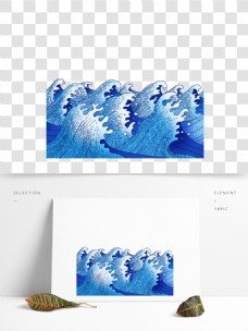 卡通蓝色浪花底纹装饰图案