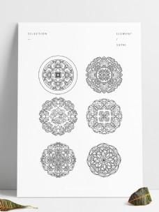 传统中式花底纹团花图案六个