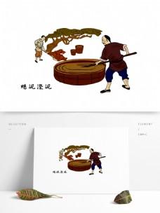 澄泥砚制作流程插画图