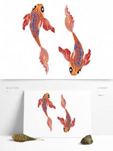 中国风插画锦鲤矢量