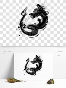 传统国画水墨龙装饰图案