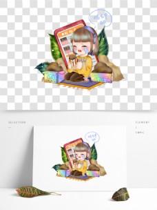 可商用手绘Q版吃土女孩设计元素