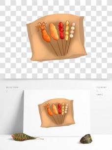 可商用手绘卡通美食之炸串元素