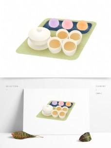 原创手绘茶点糯米糍插画装饰素材