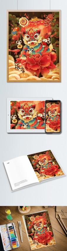 原创国潮风鼠年吉祥2020插画海报