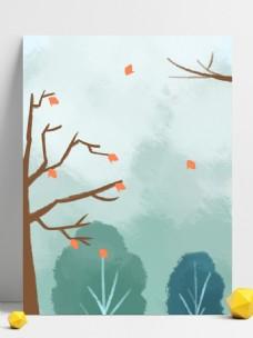 立冬简约扁平风树木背景素材