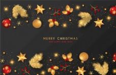圣诞背景与金色和红色装饰
