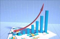 经济增长  箭头 蓝色背景