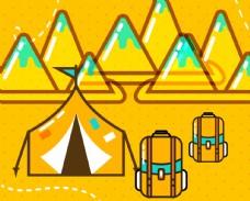 彩色沙滩旅行海报