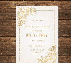 用金花裝飾的婚禮請柬